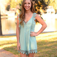 Make-Believe Romper- Seafoam