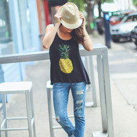 Pineapple Graphic Tank Top in Black