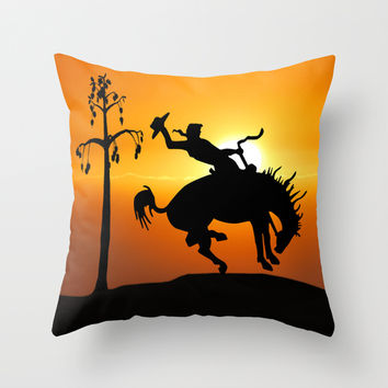 cowboy silhouette Throw Pillow by Laureenr