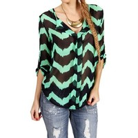 Mint/Navy Chevron Blouse