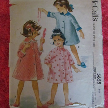 Spring Fever Sale 1960's McCall's Sewing Pattern, 5655! Size 1, Girls, Infants & Toddlers, Robes, Bath Robes