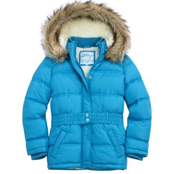 Justice Girl's Faux Fur Puffer Jacket - Size 12/14