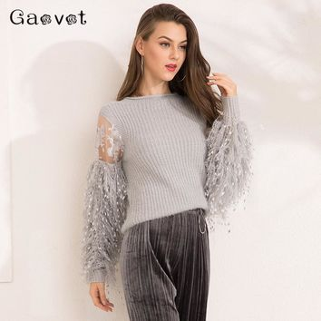 Gracegirl 2017 Autumn Women Sweaters Series Winter Lace Patchwork Fashion Jumper For Woman Lantern Full Sleeve Sweater SA171008