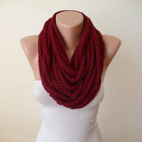 New - Wool Crochet Knit Chain Necklace Scarf - Burgundy - Soft - Infinity - Eternity - Loop - Circle - Circular - Cowl by Umbrella Design