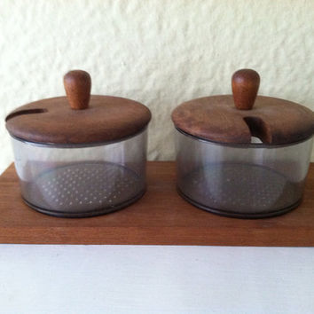 Mid Century Modern Danish Teak and Acrylic Condiment Set Server with Tray Made in Denmark