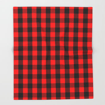 Classic Red and Black Buffalo Check Plaid Tartan Throw Blanket by podartist