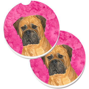 Pink Bullmastiff Set of 2 Cup Holder Car Coasters SS4793-PKCARC