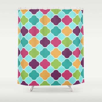 Vivid Morrocan Quatrefoil Shower Curtain by SimplyChic