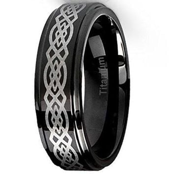 CERTIFIED 6MM Titanium Ring Wedding Band Black with Celtic Design