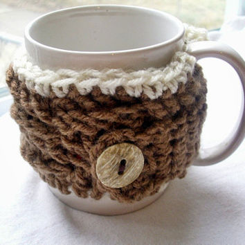 Crochet Coffee Cup Cozy in Brown & Ivory by JMcnallyDesigns