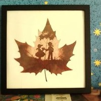Wall decor leaf engraving art heart love between a boy and girl unique gift idea
