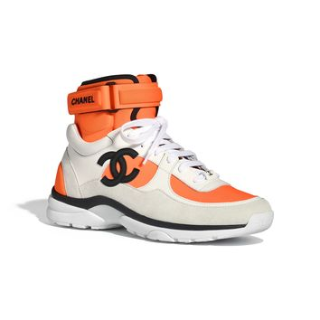Fabric, Lambskin & Suede Calfskin White & Orange Sneakers | CHANEL