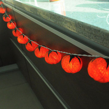 handmade Pumpkin halloween night ghost cotton ball string light orange color decor string light 3 meter long night light indoor party