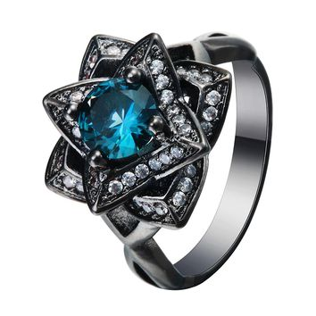 Luxury the created love flower Blue CZ zircon Wedding Ring Black gold-color Crystal 2017 new Vintage engagement jewelry
