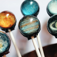 Original as seen on Cnet Planets solar system galaxy edible images hard candy lollipop - 6 pc. - MADE TO ORDER