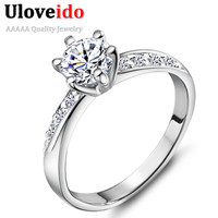 40% off Wedding Crown Crystal Ring for Unique Exclusive Women Cool CZ Diamond Zirkon Jewelry Engagement Ring Joyas Vintage J048