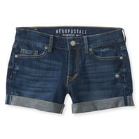 Dark Wash Destroyed Denim Boyfriend Midi Shorts