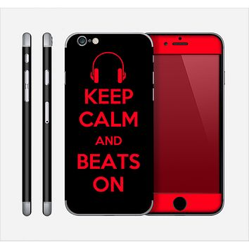 The Keep Calm & Beats On Red Skin for the Apple iPhone 6 Plus