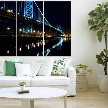 Philadelphia Ben Franklin bridge wall art, Large canvas art prints framed, office decor gift, 3 pieces Philadelphia skyline art , s124
