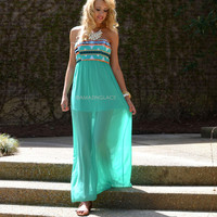 Reno Springs Green Aztec Print Maxi Dress