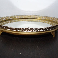 Vintage Oval Footed Mirrored Vanity/Dresser Tray with Gold Tone Floral Metal Filigree Design - Hollywood Regency/Paris Apartment