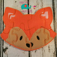 Felt fox puzzle embroidered embroidery jigsaw puzzle learning toy, activity, quiet game, kids toys, montessori, homeschool, busy book