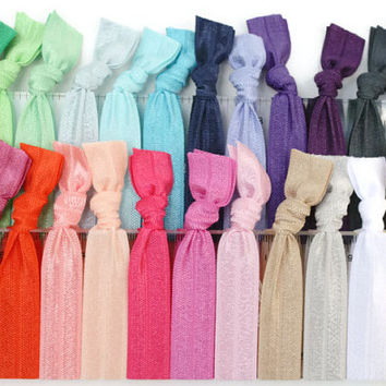25 Elastic Hairbands -1 in Each Color - Soft Stretchy Hairband Set - Boho Yoga Hairbands for Exercise - No Headache Hairbands - Gift For Her