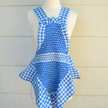 Vintage Smocked Apron Top, Blue and White Gingham, Cross Over Back, circa 1970s