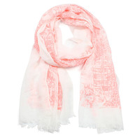 TOILE PRINT SCARF - Coral