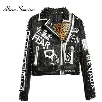 New 2017 Women Leather Jacket Heavy Rivets Leopard Printing Short Motorcycle Leather Long Sleeve Punk Rock Jackets AS6985