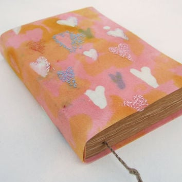 hearts, love, batik fabric journal, diary, notebook, old pages