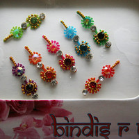Bindi Sticker Original Bindis Styles Set stormy Eye Vixen Make up Fancy Designer Bindi & Crystal Handmade.