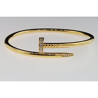 Genuine Cartier Juste Un Clou Diamond Bracelet 18k Yellow Gold Size 18 New 2018