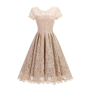 Women's clothes round collar lace retro full-length slim dress christmas dress dresses woman party night vestidos women