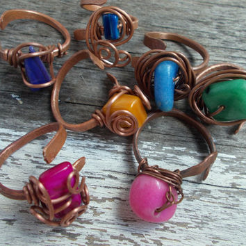 """Lot of Seven Pieces Wire Wrapped Adjustable Copper Rings, Jewelry, Chakra colors,"""" Seven days of the week"""", Colorful rings"""
