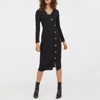 Office ladies midi dresses V-neck long sleeve buttons female black work dress High waist slim dress women