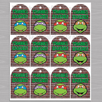 TMNT Favor Thank You Tags! Printable INSTANT Download - Teenage Mutant Ninja Turtles Theme Birthday Party