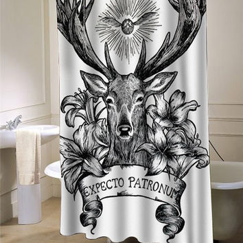 Expecto Patronum Deathly Hallows Harry Potter Shower Curtain