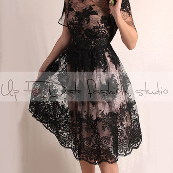 Wedding party black /knee length /lace dress/ 3/4 Sleeves /open back/ Bridal Gown