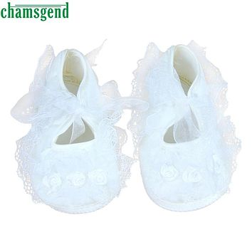 CHAMSGEND Todder Pre-walker shoes Rose Flowers Ribbon Bow Princess Newborn Baby Shoes Flower Style White&Pink 0-2M S40
