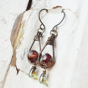 Oxidized brass sangria tear drop earrings, faceted pink & yellow rondelles, lustrous mottled green czech glass drops, aqua picasso finish