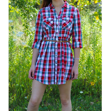 Plaid Belted Dress - Red