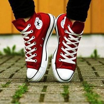 VONR3I Converse All Star Sneakers canvas shoes for women sports shoes high-top red