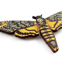 Death's head hawkmoth brooch, moth brooch, insect brooch, wooden brooch, insect jewellery, deaths head moth, skull moth, UK seller