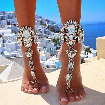 Fashion Ankle Bracelet Wedding Barefoot Sandals Beach Foot Jewelry Sexy Pie Leg Chain Female Boho Crystal Anklet 1pcs
