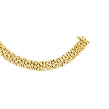 14K Yellow Gold 6.5mm Shiny 5 Row Panther Chain Link Bracelet with Box Catch Clasp