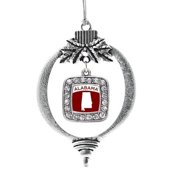Alabama Outline Square Charm Holiday Ornament