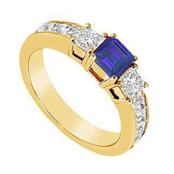 Blue Sapphire and Diamond Ring : 14K Yellow Gold - 1.25 CT TGW