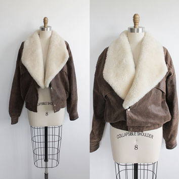 Vintage 80s Leather Bomber Jacket with Removable Fur Collar | women's S-L