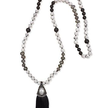 CREYDC0 MGR Mala Beads Long Beaded Semiprecious Stone Statement Necklace with Druzy Cap Tassels.